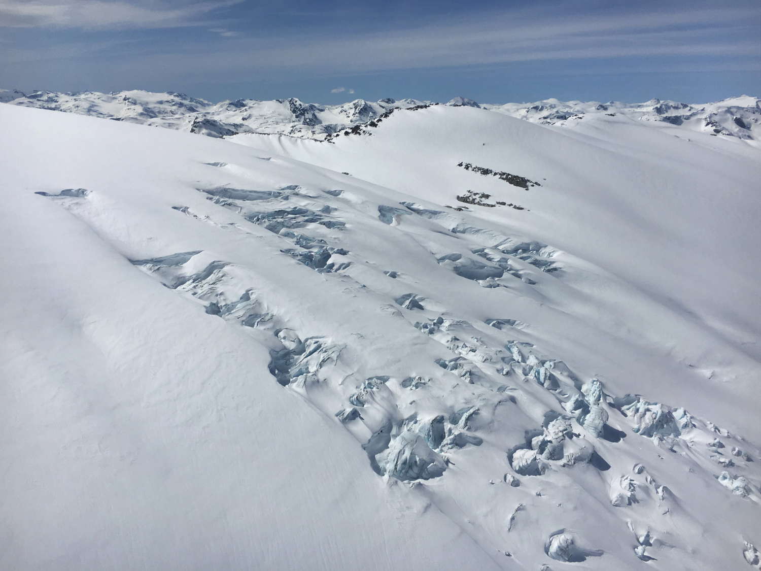 snow sliding formations on mountain side