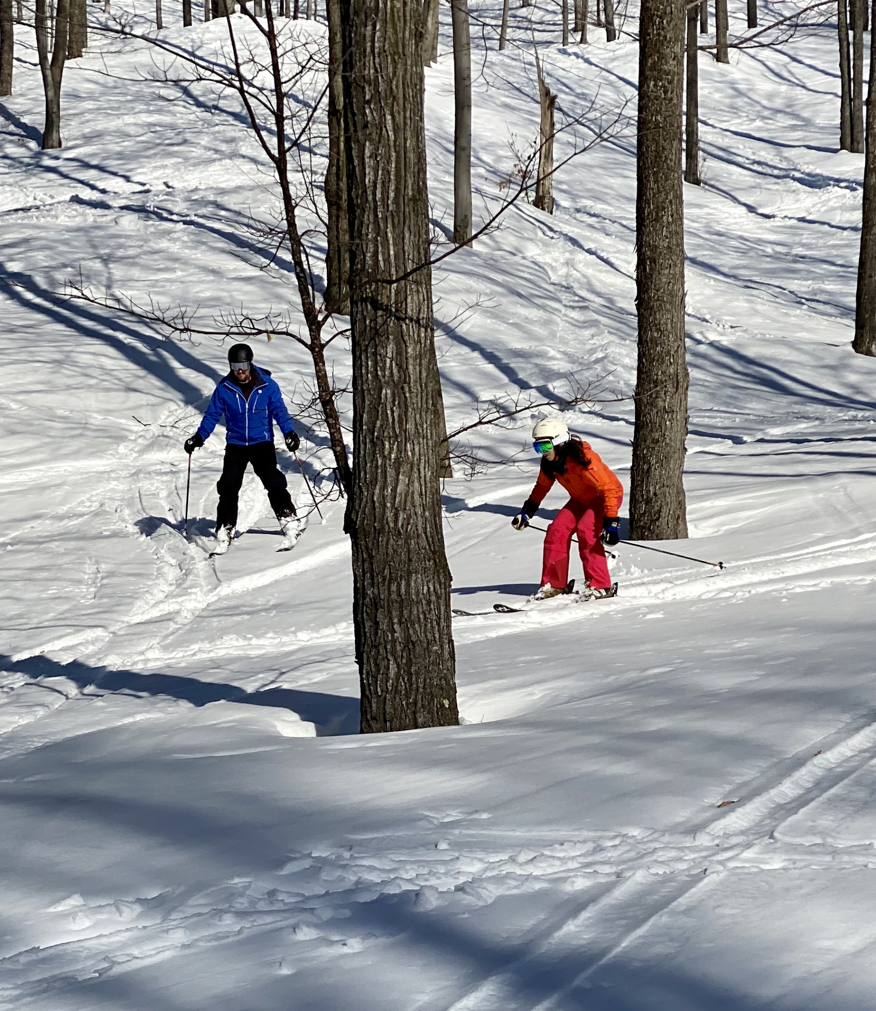 skiers at bottom of tower glade