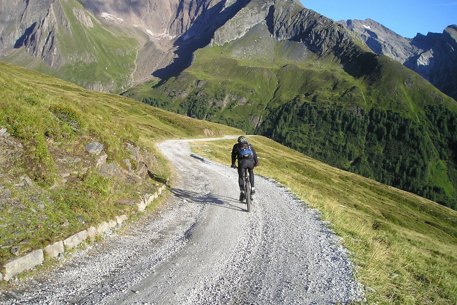 mountain biker on dirt road