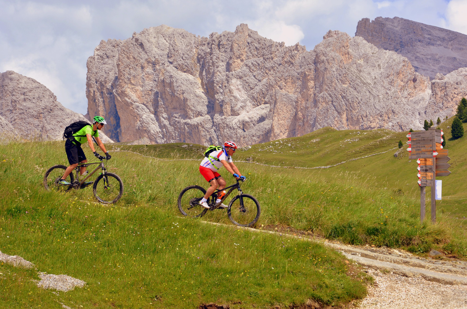 mountain bikers on a mountain trail
