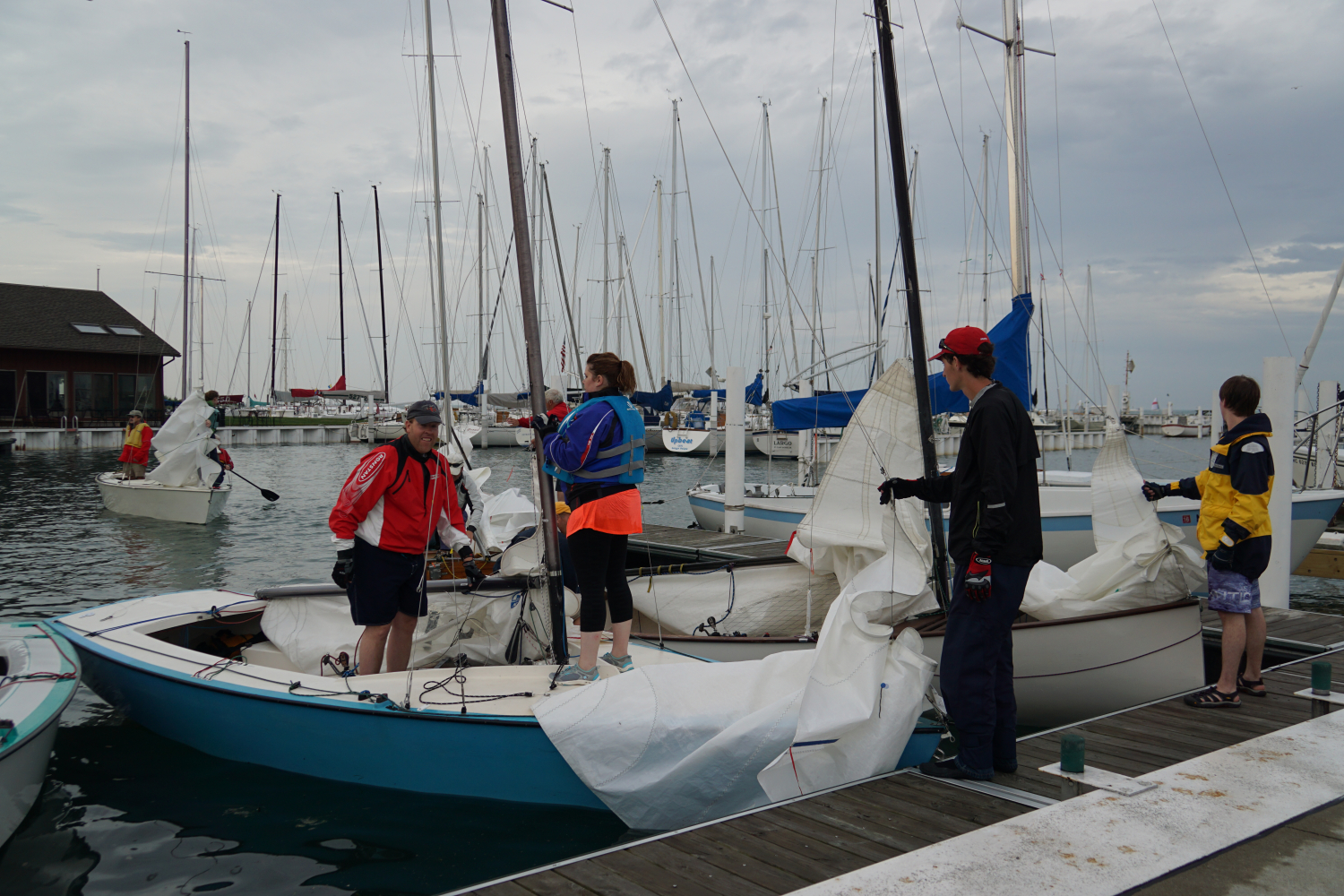 getting ready to sail at yacht club