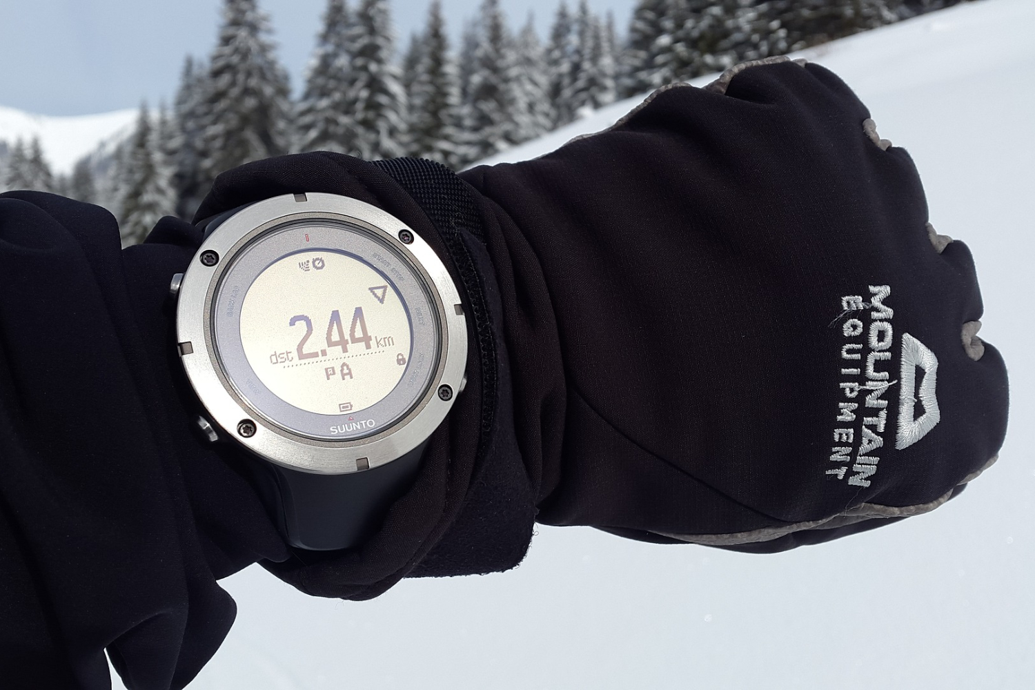 skier wearing GPS watch