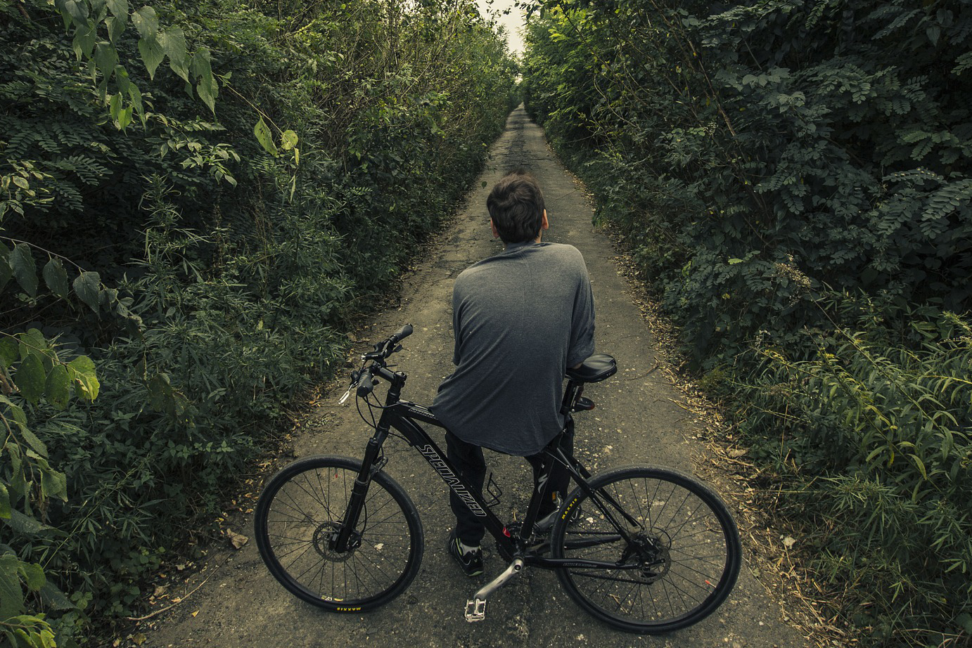 mountain bike with road tires on path