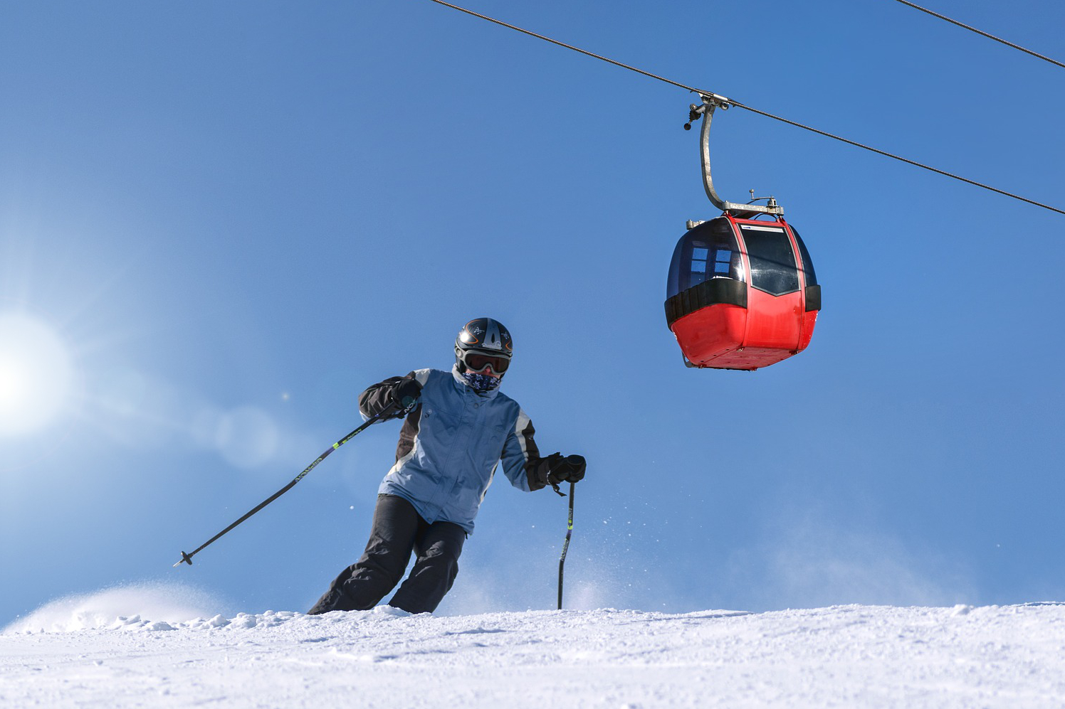 skier with goggles on
