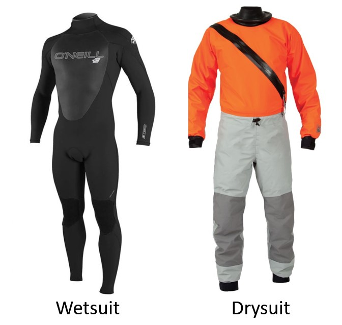 wetsuit and drysuit next to each other