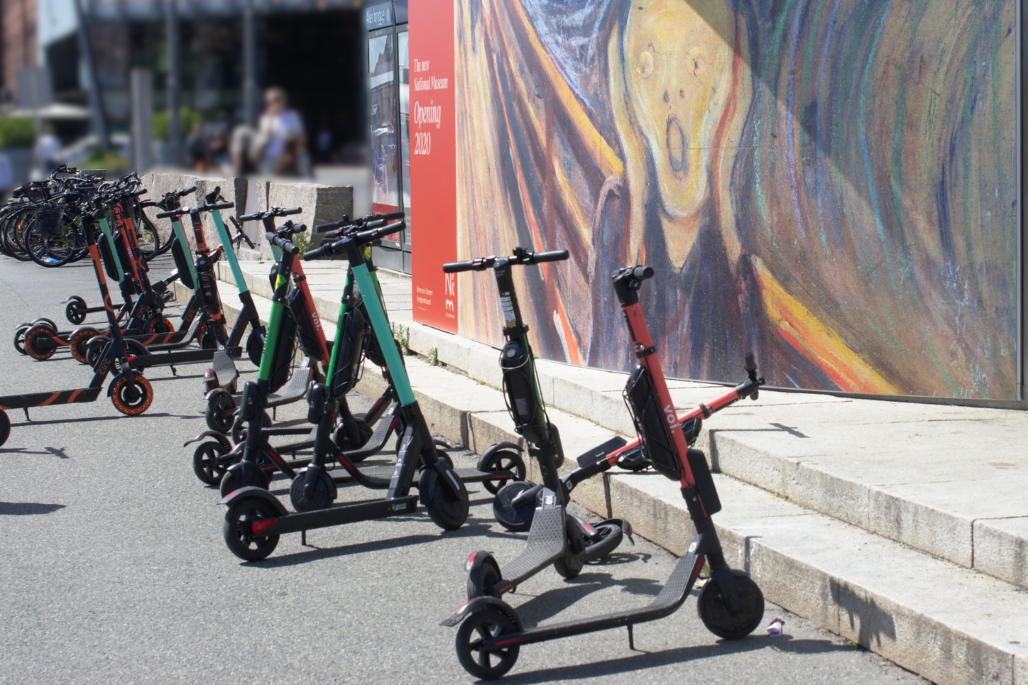 group of electric scooters