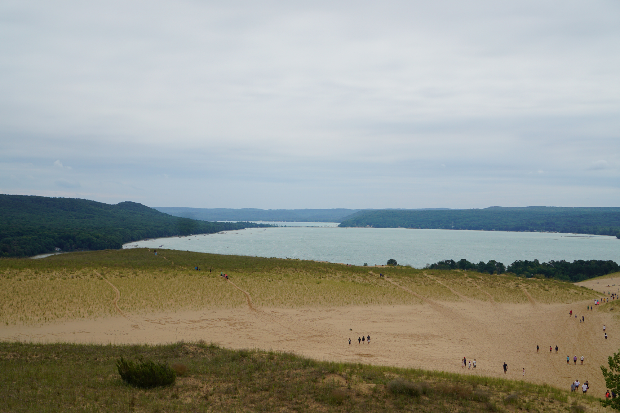 looking down the dunes over lake