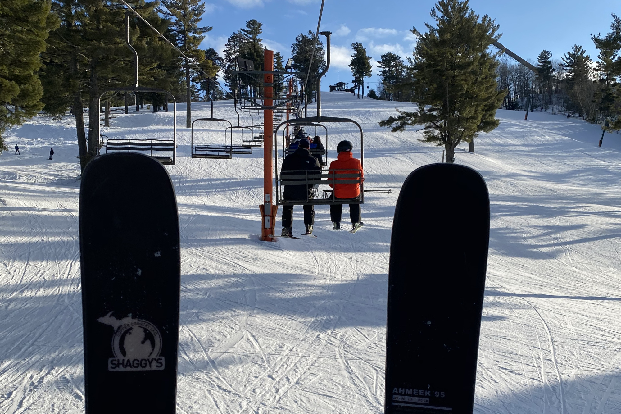 riding chairlift at pine mountain
