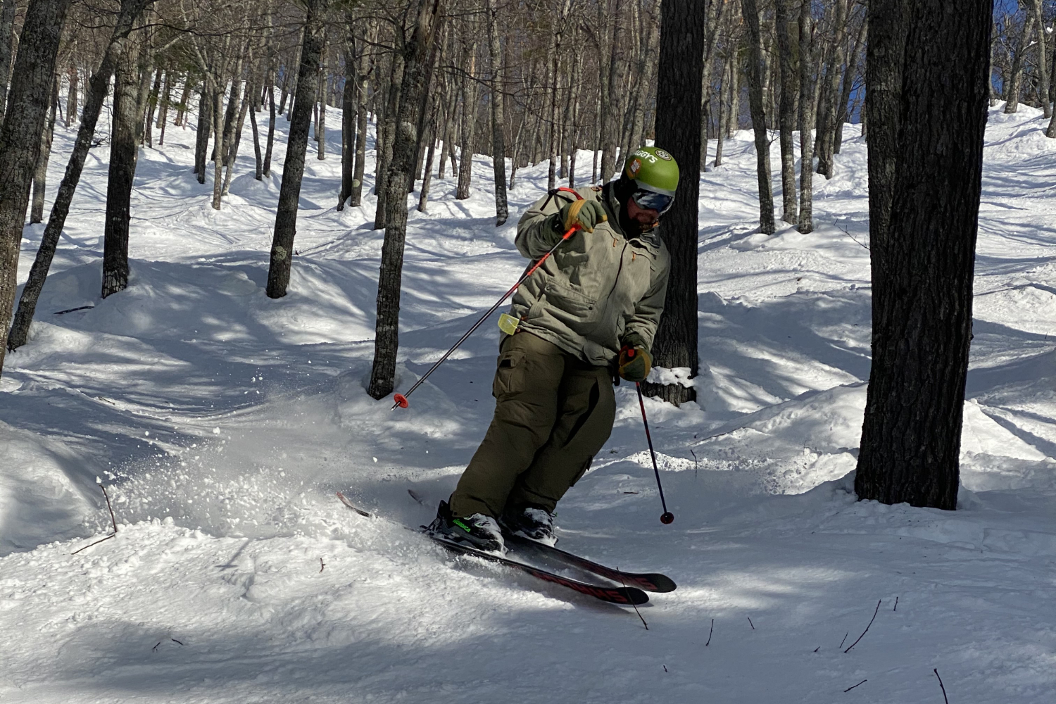 skiing in trees at Mt Bohemia Michigan