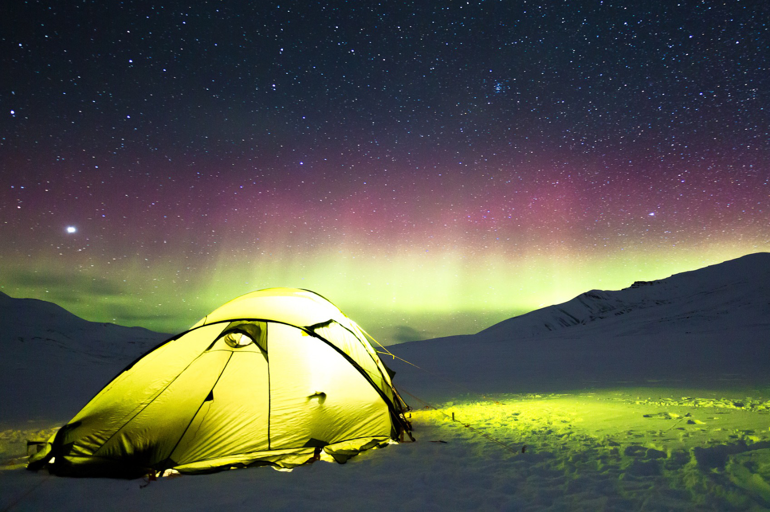 tent in snow and northern lights