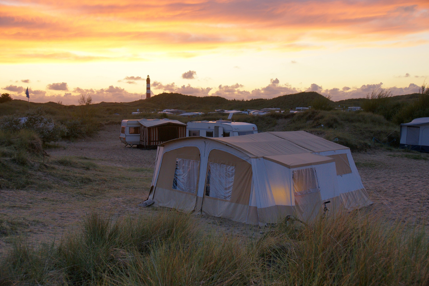 living in a big tent at sunset