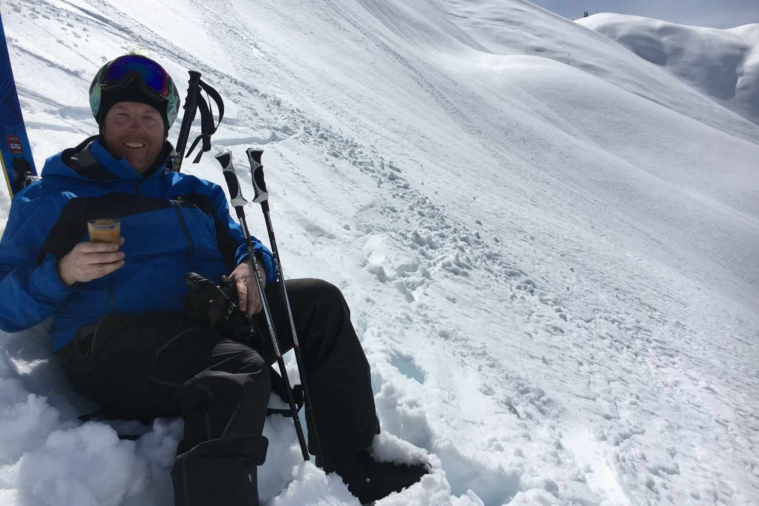 chubby skier on the slopes