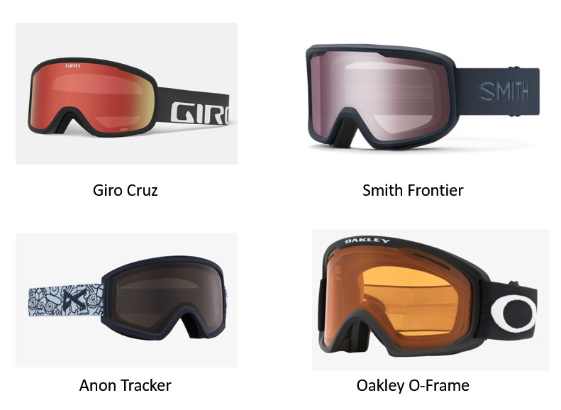 name brand under $50 goggles